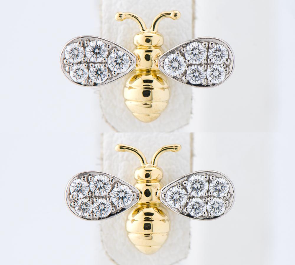 [写真]ギメル 蜂 ダイヤモンド計0.142/0.145ct 18金イエローゴールド/プラチナ950 ピアス【買取相場】