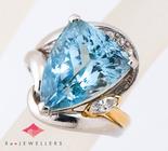 アクワマリン10.18ct ダイヤモンド計0.21ct プラチナ900/18金 リング【買取相場】