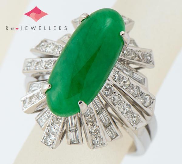 [写真]ジェイダイト(翡翠)5.75ct ダイヤモンド計0.78ct 18金ホワイトゴールド リング・指輪【買取相場】