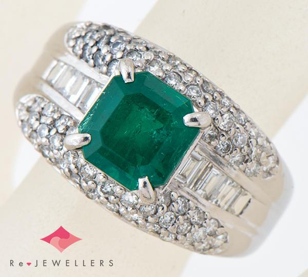 [写真]エメラルド2.25ct ダイヤモンド計1.05ct プラチナ900 リング・指輪【買取相場】