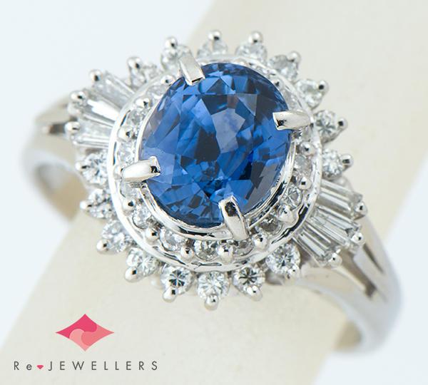 [写真]ブルーサファイア2.06ct ダイヤモンド計0.45ct プラチナ リング【買取相場】