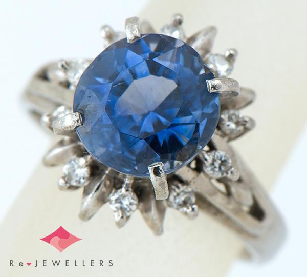 [写真]非加熱ブルーサファイア3.96ct ダイヤモンド計0.17ct プラチナ リング【買取相場】