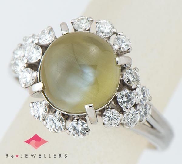 [写真]クリソベリルキャッツアイ計4.24ct ダイヤモンド計0.42ct プラチナ リング【買取相場】