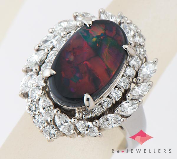 [写真]ブラックオパール3.04ct ダイヤモンド1.25ct プラチナ900 リング・指輪【買取相場】