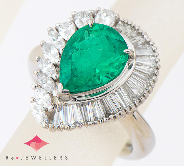 [写真]エメラルド2.80ct ダイヤモンド計1.45ct プラチナ900 リング・指輪【買取相場】