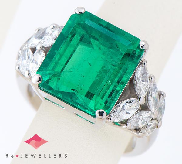 [写真]エメラルド7.14ct ダイヤモンド計1.25ct プラチナ900 リング・指輪【買取相場】
