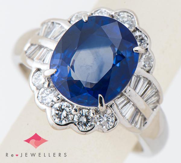 [写真]サファイア4.48ct ダイヤモンド計0.88ct プラチナ900 リング・指輪【買取相場】
