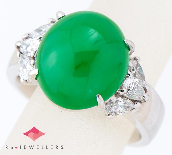 [写真]ジェイダイト(翡翠)8.55ct ダイヤモンド計0.55ct プラチナ900 リング・指輪【買取相場】