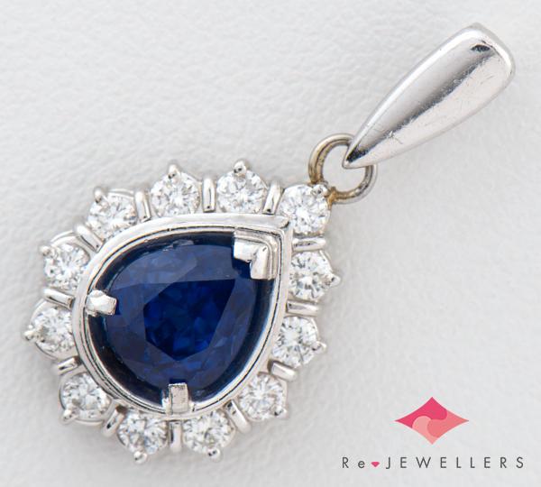 [写真]ブルーサファイア1.32ct ダイヤモンド計0.26ct プラチナ ペンダントトップ【買取相場】