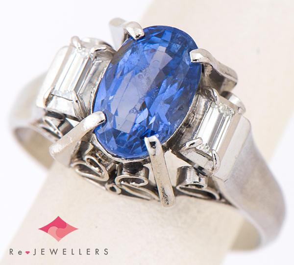 [写真]非加熱ブルーサファイア3.03ct ダイヤモンド計0.25ct プラチナ リング【買取相場】