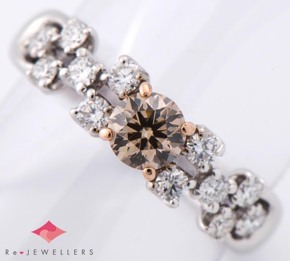 [写真]カシケイ ブラウン ダイヤモンド0.498ct ダイヤモンド 計0.45ct 18金 リング【買取相場】