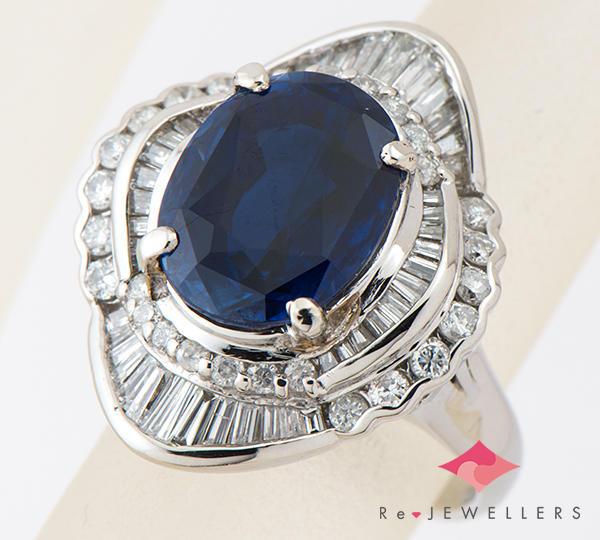 [写真]非加熱 サファイア6.95ct ダイヤモンド計1.36ct プラチナ900 リング・指輪【買取相場】