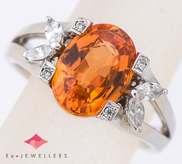[写真]スペサルティンガーネット3.20ct ダイヤモンド計0.22ct プラチナ リング【買取相場】