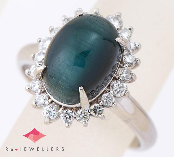 [写真]トルマリンキャッツアイ5.66ct ダイヤモンド計0.43ct プラチナ リング【買取相場】