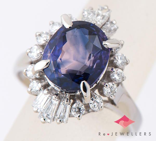 [写真]非加熱サファイア4.61ct ダイヤモンド計0.75ct プラチナ リング【買取相場】