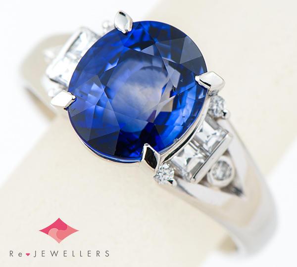 [写真]ブルーサファイア4.24ct ダイヤモンド計0.35ct プラチナ900 リング【買取相場】