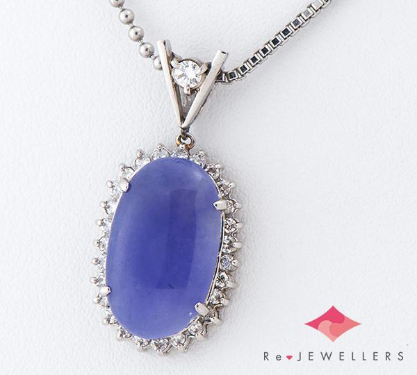 [写真]ラベンダージェイダイト(翡翠)5.81ct ダイヤモンド計0.45ct プラチナ ネックレス【買取相場】