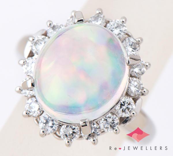 [写真]ウォーターオパール5.35ct ダイヤモンド計0.76ct プラチナ リング【買取相場】