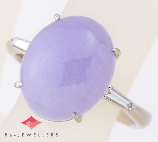 [写真]ラベンダージェイダイト(翡翠) ダイヤモンド計0.15ct プラチナ リング【買取相場】