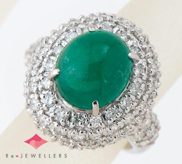 [写真]カボション エメラルド4.18ct ダイヤモンド計1.50ct プラチナ900 リング・指輪【買取相場】