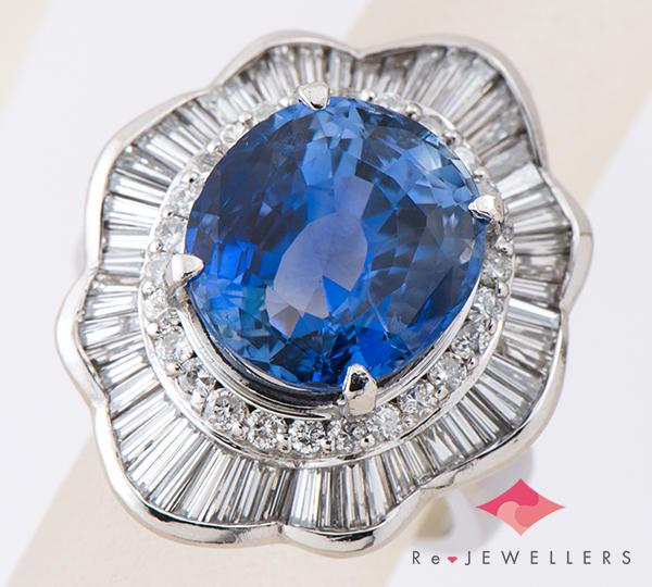 [写真]スリランカ産 非加熱サファイア9.38ct ダイヤモンド計1.75ct プラチナ900 リング・指輪【買取相場】