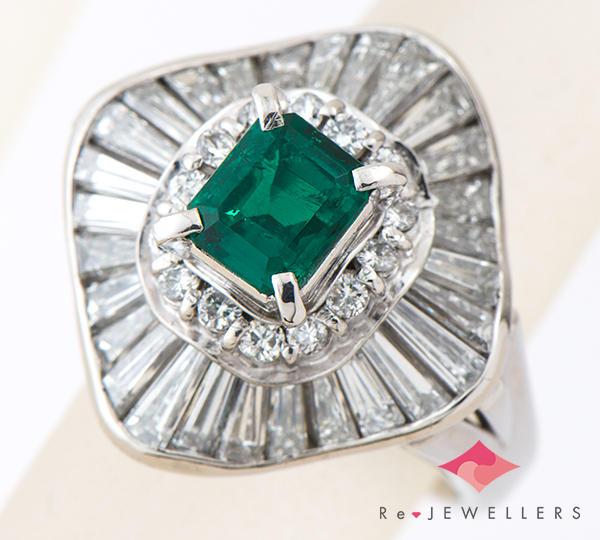 [写真]エメラルド1.15ct ダイヤモンド計2.50ct プラチナ900 リング・指輪【買取相場】