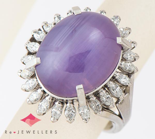 [写真]パープルスターサファイア18.00ct ダイヤモンド計0.95ct プラチナ900 リング・指輪【買取相場】