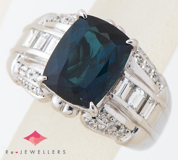 [写真]インディゴトルマリン4.75ct ダイヤモンド計0.88ct プラチナ900 リング・指輪【買取相場】