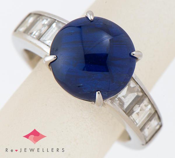 [写真]スターサファイア6.35ct ダイヤモンド計1.58ct プラチナ900 リング・指輪【買取相場】