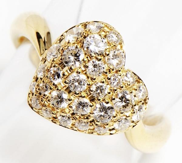 [写真]ハート パヴェ ダイヤモンド計0.85ct 18金 リング【買取相場】