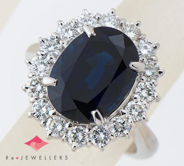 [写真]非加熱 サファイア6.55ct ダイヤモンド計1.20ct プラチナ900 リング・指輪【買取相場】