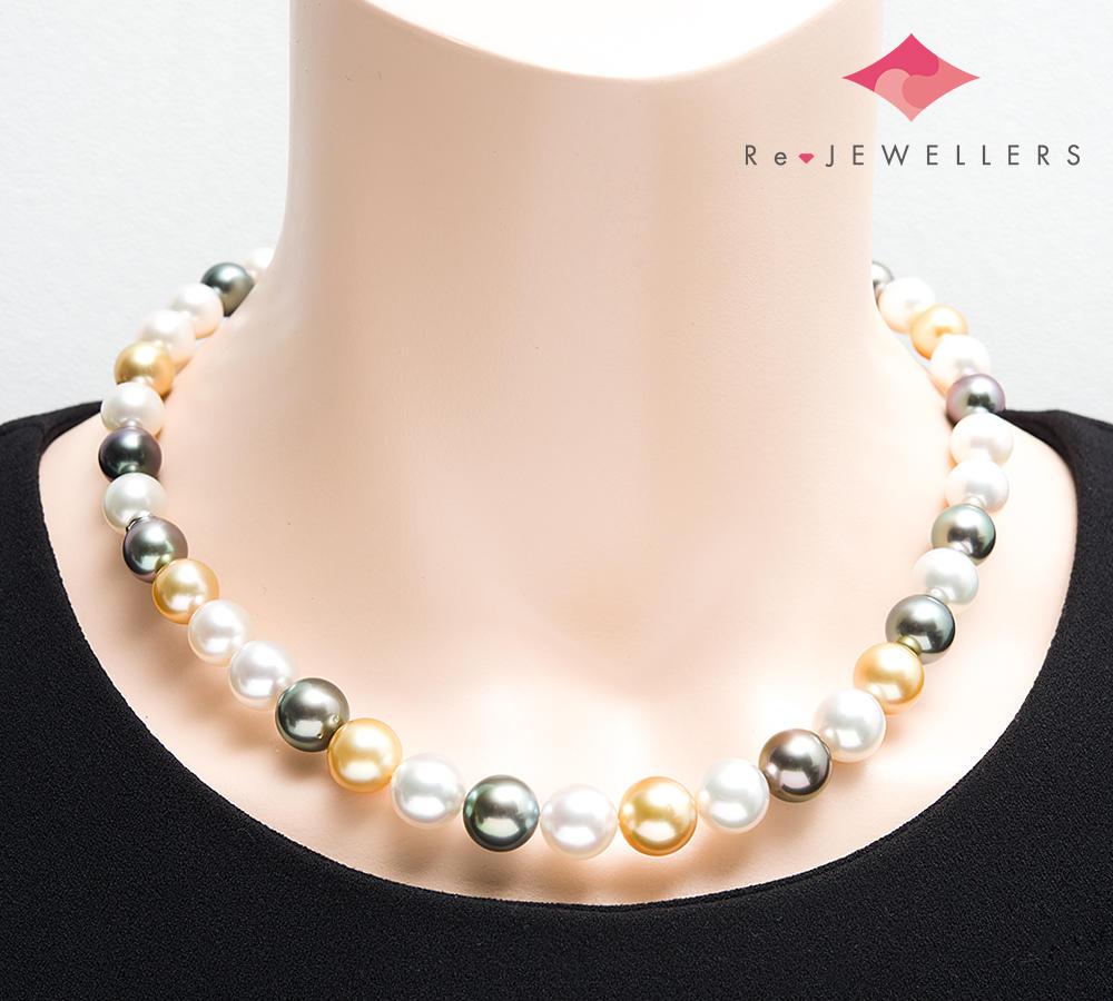 [写真]ミキモト マルチカラー 8.7-11.3mm 南洋真珠 18金ホワイトゴールド ネックレス【買取相場】