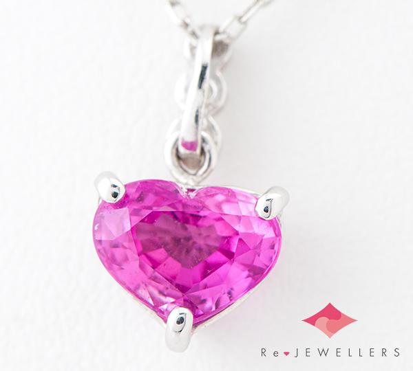 [写真]ピンクサファイア2.17ct ダイヤモンド計0.10ct プラチナ ペンダント【買取相場】
