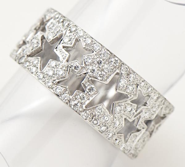 [写真]スターモチーフ ダイヤモンド計0.54ct K18WG リング【買取相場】