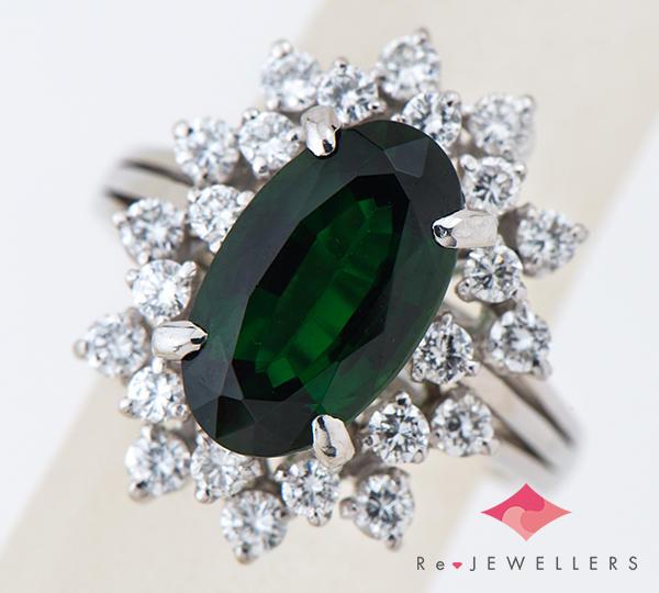 [写真]クロムトルマリン2.60ct ダイヤモンド計0.71ct プラチナ900 リング【買取相場】