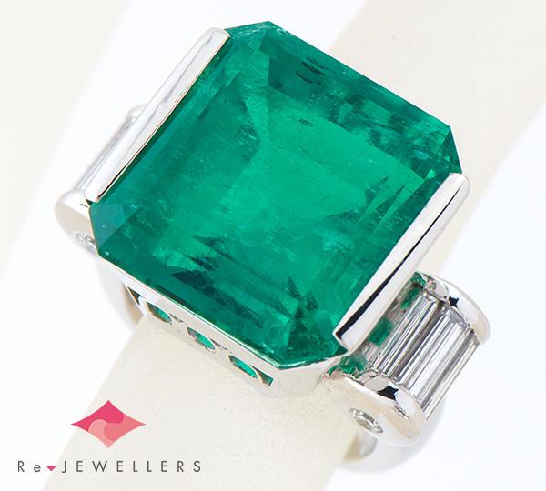 [写真]エメラルド19.50ct ダイヤモンド計1.05ct プラチナ900 リング・指輪【買取相場】