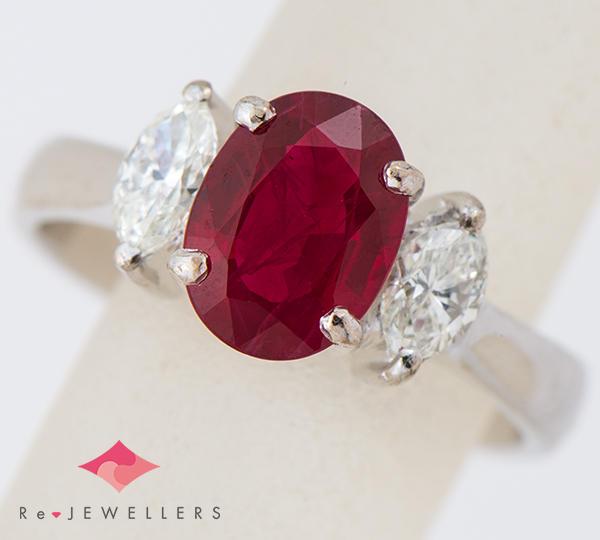 [写真]ルビー2.02ct ダイヤモンド計0.40ct プラチナ900 リング・指輪【買取相場】