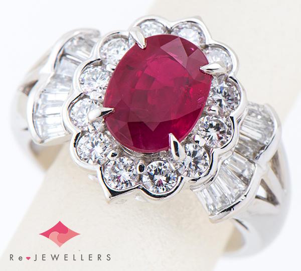 [写真]ルビー2.02ct ダイヤモンド計1.05ct プラチナ900 リング・指輪【買取相場】