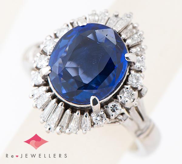 [写真]非加熱 サファイア5.05ct ダイヤモンド計0.80ct プラチナ900 リング・指輪【買取相場】