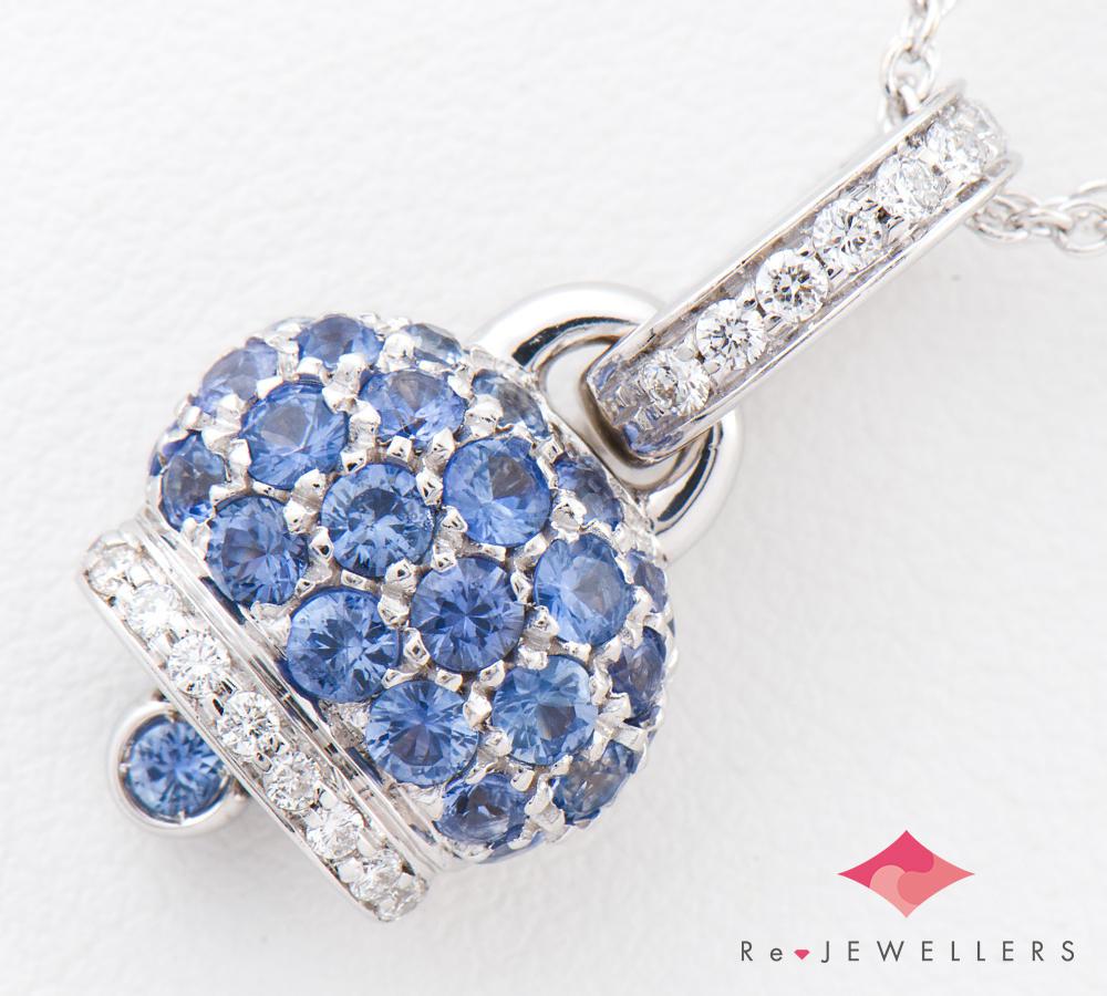 [写真]シャンテクレール 幸運のベル ブルーサファイア ダイヤモンド 18金WG ネックレス【買取相場】