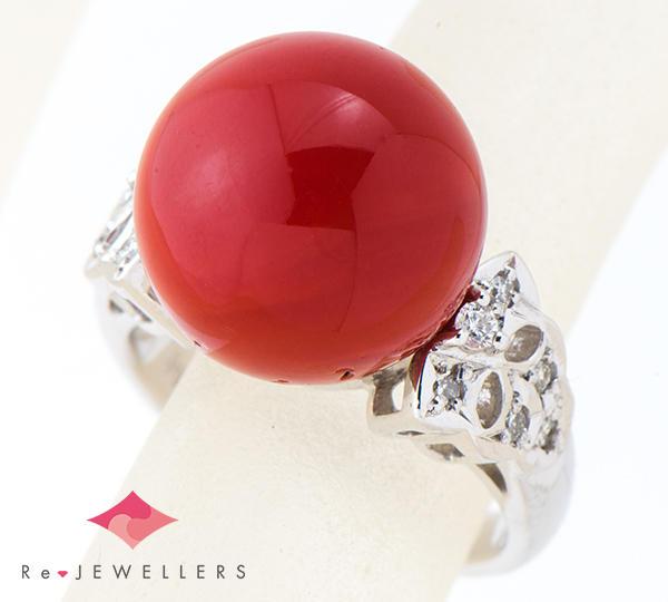[写真]サンゴ(珊瑚)約13.2mm ダイヤモンド計0.15ct プラチナ900 リング【買取相場】