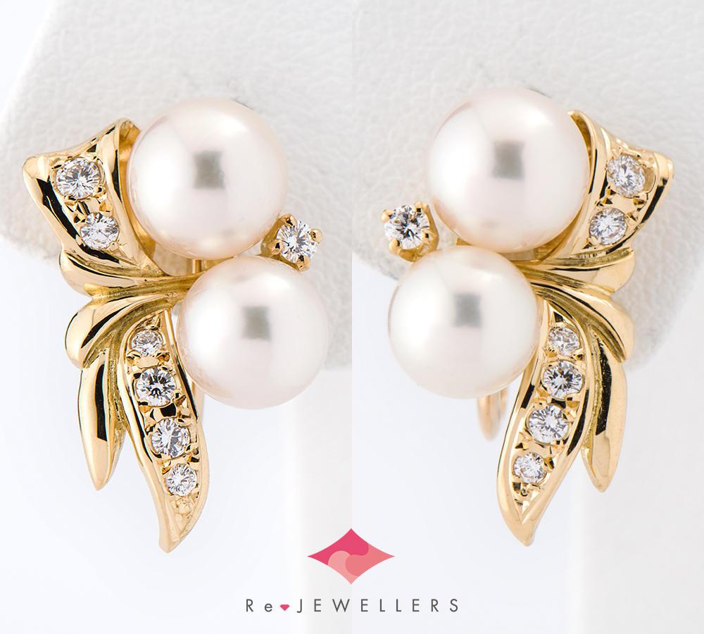 [写真]ミキモト アコヤ真珠 ダイヤモンド 18金 イヤリング【買取相場】