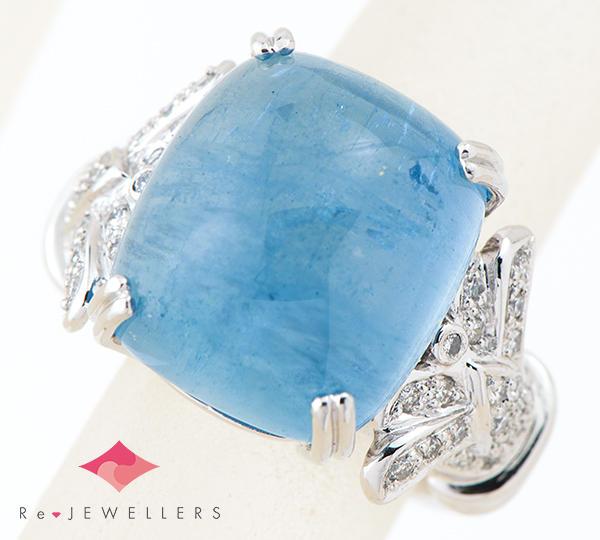 [写真] アクアマリン13.41ct ダイヤモンド計0.45ct プラチナ900 リング【買取相場】