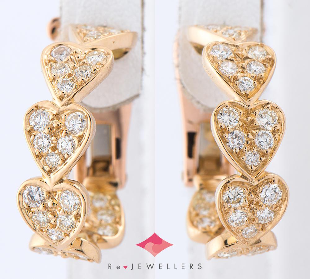 [写真]カルティエ ハートウィズ ダイヤモンド 18金イエローゴールド イヤリング【買取相場】
