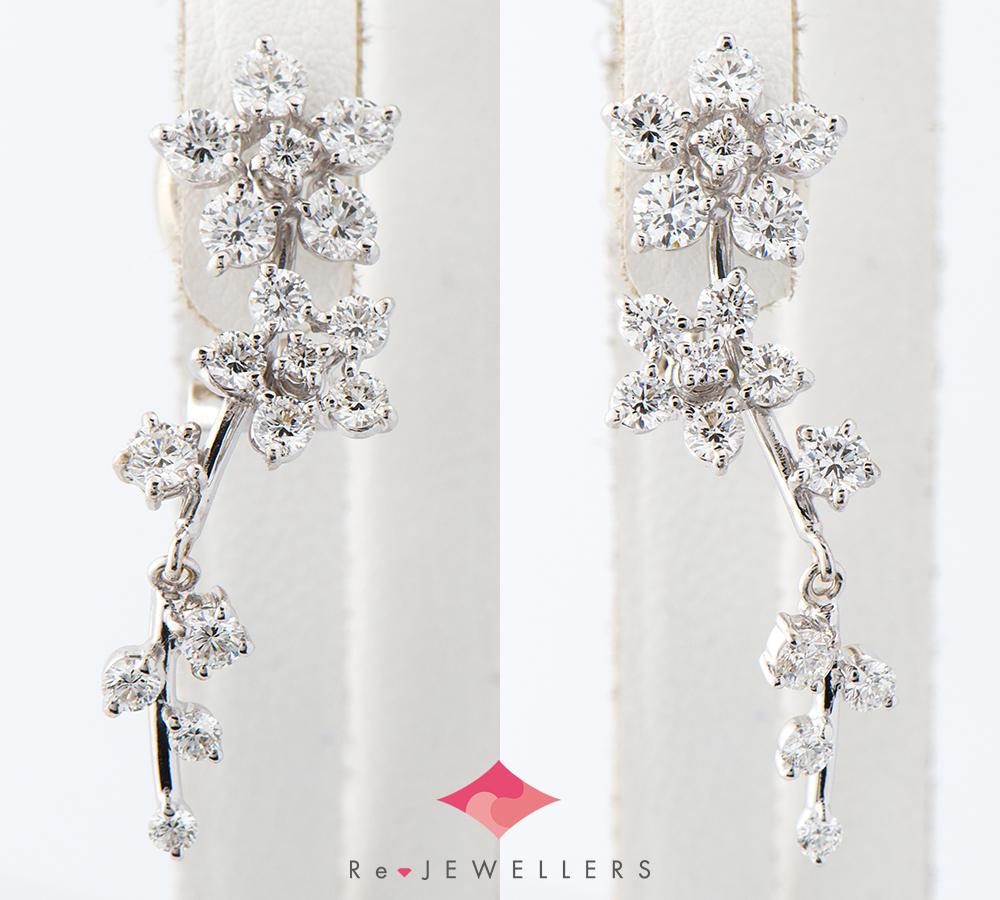 [写真]田崎真珠 フラワー ダイヤモンド計2.0ct K18WG ピアス【買取相場】