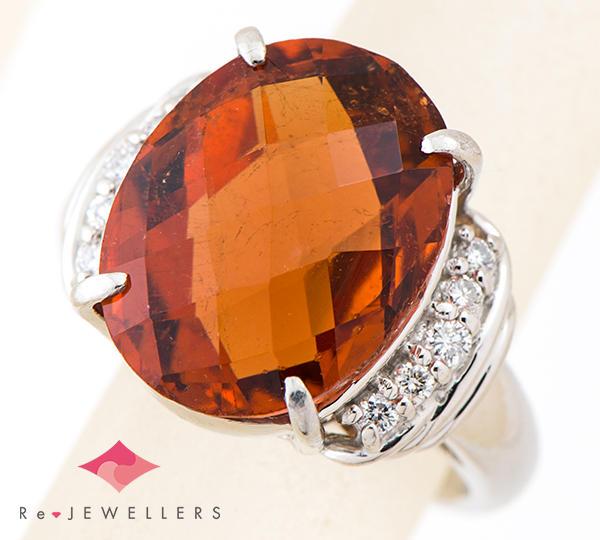 [写真]トルマリン10.72ct ダイヤモンド計0.25ct プラチナ900 リング【買取相場】