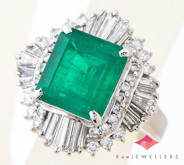 [写真]エメラルド4.34ct ダイヤモンド計1.65ct プラチナ900 リング・指輪【買取相場】