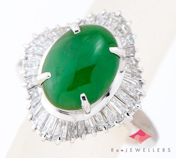 [写真]ジェイダイト(翡翠) ダイヤモンド計1.31ct プラチナ900 リング・指輪【買取相場】