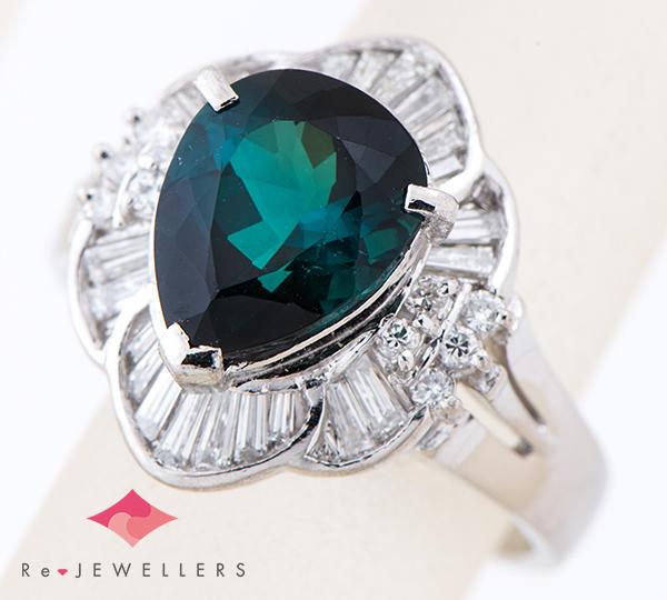 [写真]インディゴトルマリン3.55ct ダイヤモンド計0.27ct プラチナ900 リング【買取相場】