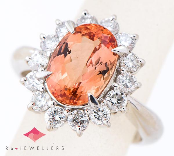 [写真]インペリアルトパーズ3.17ct ダイヤモンド計0.81ct プラチナ リング【買取相場】